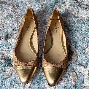 Kate Spade Size 7.5 Gold Cork Flats READ